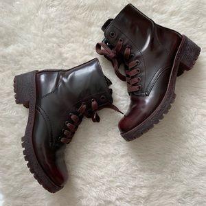 Aldo Burgundy Combat Boots